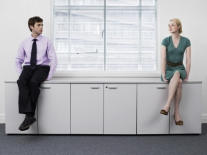 An office romance brews between two people