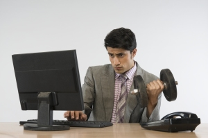 Man doing exercise at work