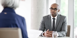 Man using job interview tips he learned