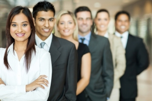 A row of people representing diversity in the workplace