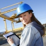 Woman in a hardhat representing women in engineering