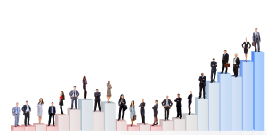 People standing on a bar graph representing rising and falling careers in demand