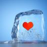 A frozen heart symbolizing the winter blues