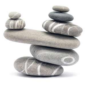 A balanced pile of stones representing work-life balance