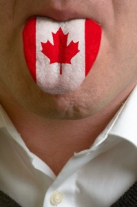 A tongue painted with the Canadian flag representing the most spoken languages in Canada