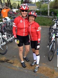 My newly found BFF, Jackie, at 85 km, Liege ride.
