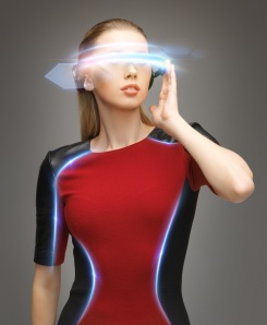 A job seeker of the future checks out job postings with a visor