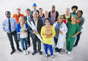 A crowd representing various jobs in Canada