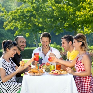 Coworkers enjoy a picnic