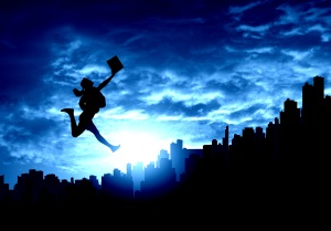 A woman in a business suit long jumps over a city