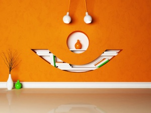 An office wall looks like a smiley face, illustrating how to motivate employees using workspace