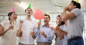 An office birthday party shows how to motivate employees by having unconditional fun