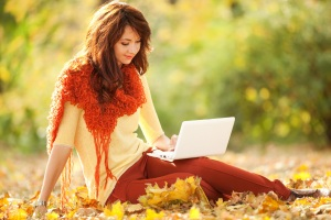 A woman achieves productivity in the autumn