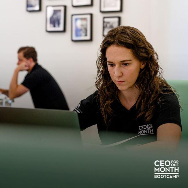 Olivia hard at work on a computer