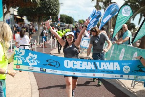 Anne completing the Ocean Lava triathlon.