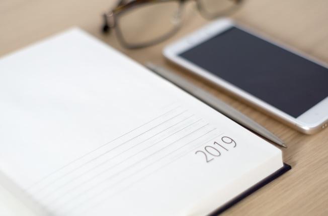 Desk with 2019 agenda