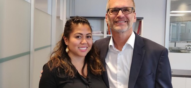 Frances Doria, CEO for One Month, with Gilbert Boileau, president of Adecco Canada