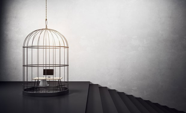 Identifiers of a toxic work environment: birdcage with workplace and stairs